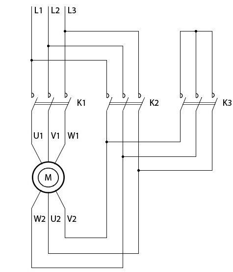 переключение электродвигателя звезда-треугольник