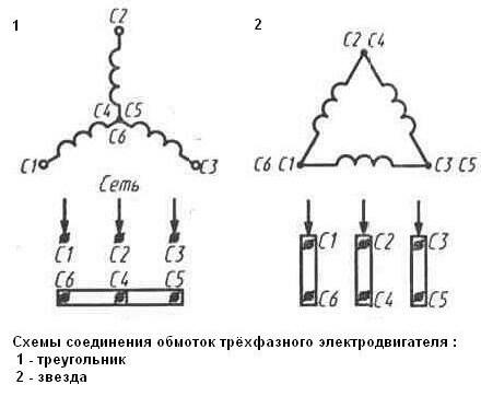 схема соединения обмоток трёхфазного электродвигателя