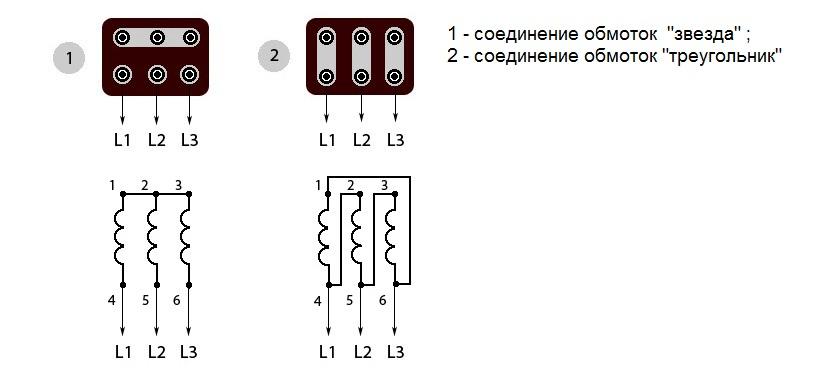 соединение обмоток электродвигателя