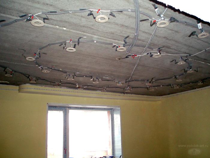 замена электропроводки под подвесным потолком