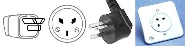 электрические вилка и розетка типа H