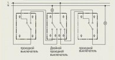 выключатель двухклавишный проходной