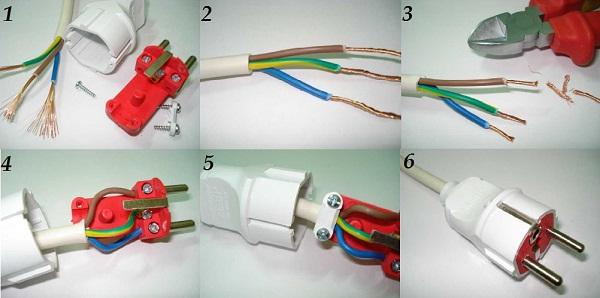 Как разобрать и заменить электрическую вилку